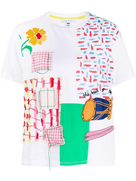 Белая прямая футболка из вискозы с круглым вырезом Mira Mikati