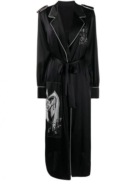 Czarny płaszcz z jedwabiu z długimi rękawami Each X Other