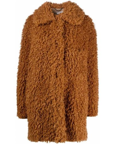 Длинное пальто с воротником с накладными карманами на крючках свободного кроя Stella Mccartney