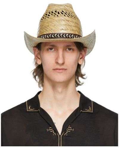 Соломенная кожаная черная шапка Saint Laurent