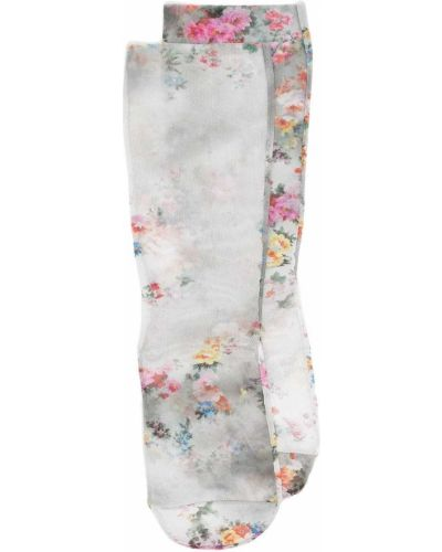 Серые носки эластичные в цветочный принт Msgm