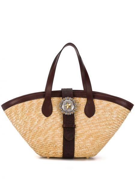 Пляжная сумка соломенная кожаная Kate Cate