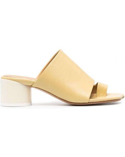 Кожаные мюли на каблуке с открытым носком Mm6 Maison Margiela