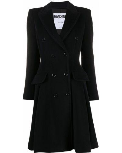 Шерстяное черное длинное пальто двубортное Moschino