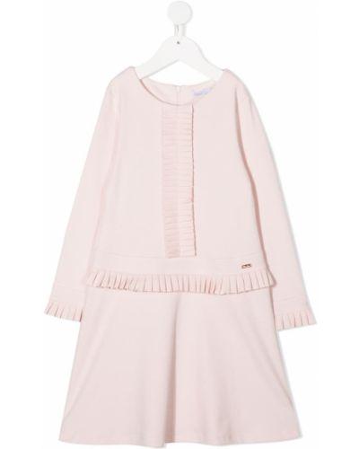 Розовое платье с рукавами с вырезом круглое на молнии Patachou