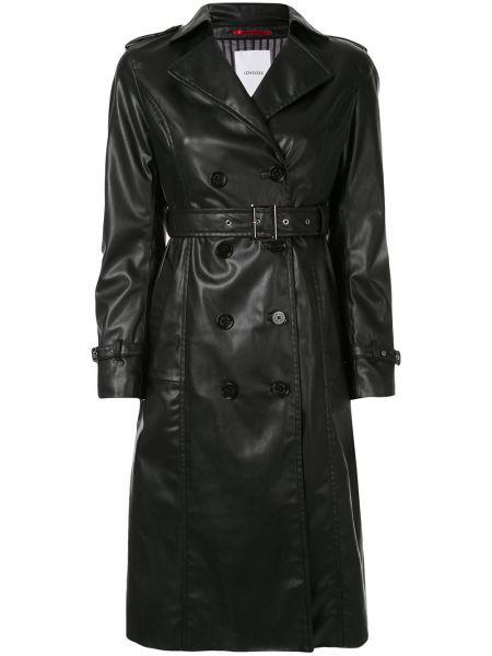 Czarny płaszcz skórzany z paskiem Loveless
