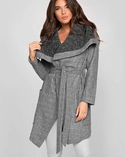 Серое пальто весеннее Gepur