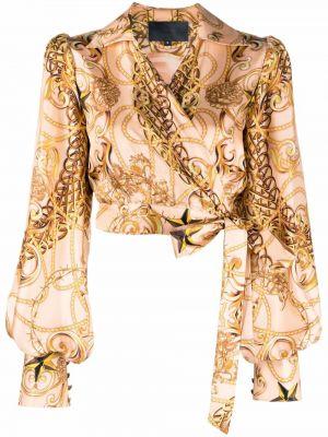 Bluzka kopertowa - beżowa Philipp Plein