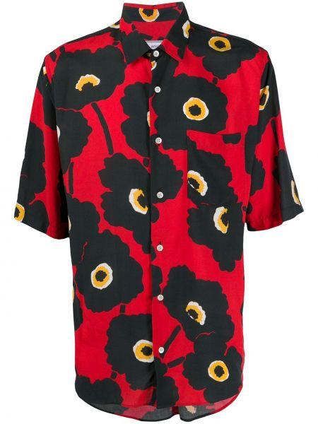 Czarna koszula krótki rękaw z wiskozy Ami