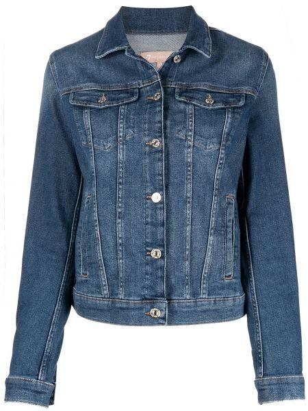 Хлопковая синяя джинсовая куртка с воротником 7 For All Mankind