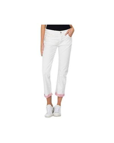 Хлопковые прямые белые джинсы Replay