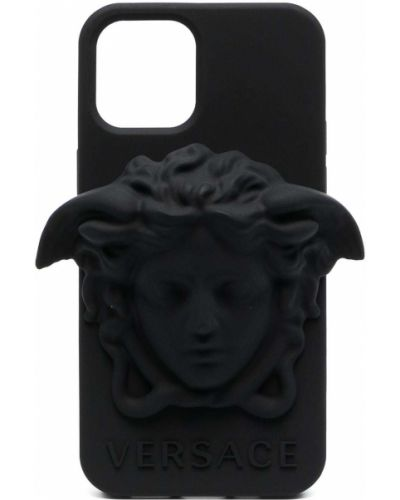 Czarne etui na okulary silikon Versace