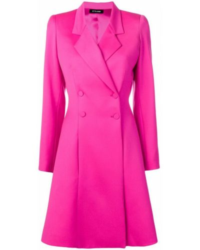 Розовое пальто классическое с капюшоном на пуговицах Styland