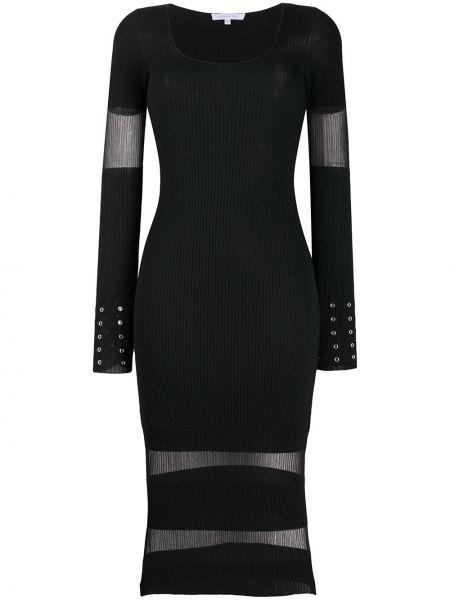 Трикотажное черное платье макси прозрачное Patrizia Pepe