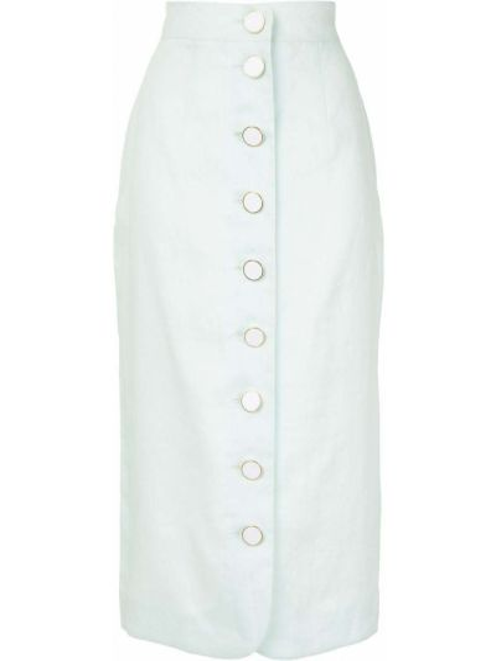 Зеленая с завышенной талией юбка миди на пуговицах со шлицей George Keburia