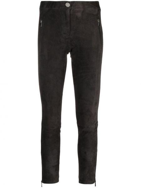 Черные кожаные укороченные брюки с поясом Arma