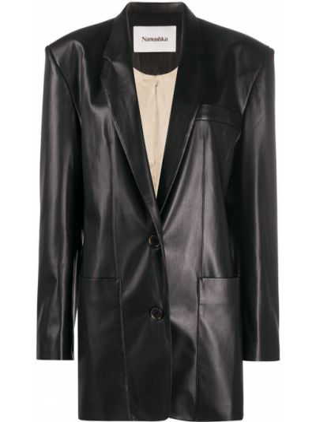 Черный кожаный удлиненный пиджак оверсайз Nanushka