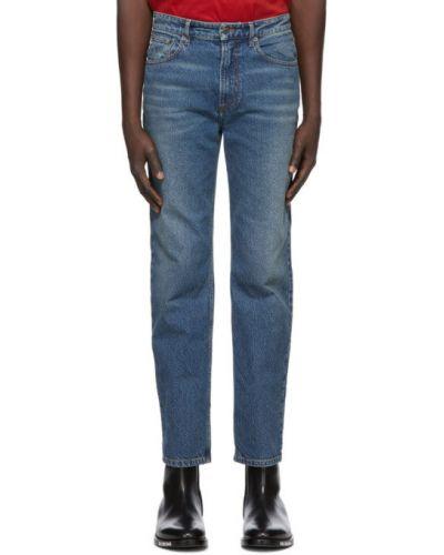 Prosto biały jeansy na wysokości z kieszeniami z łatami Balenciaga