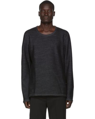 Czarny t-shirt z długimi rękawami wełniany Deepti