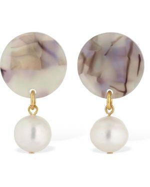 Szare kolczyki sztyfty perły srebrne Aym