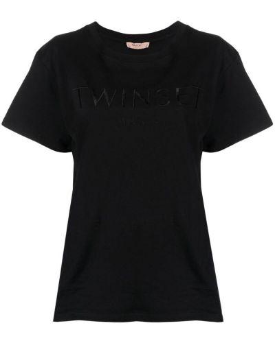 Прямая черная футболка с вышивкой Twin-set