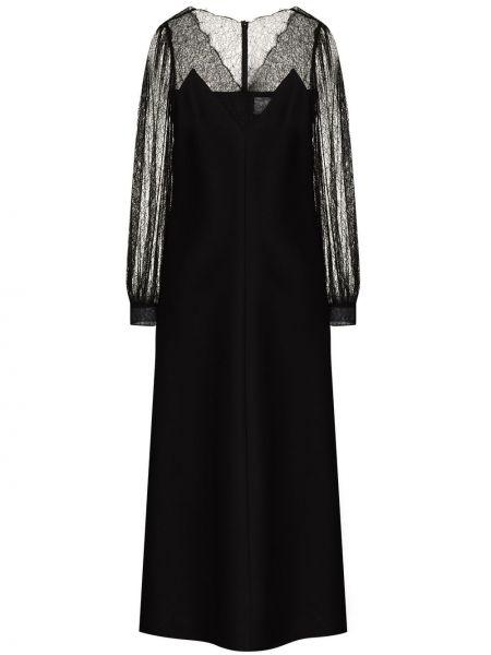 Кружевное с рукавами черное платье миди Valentino