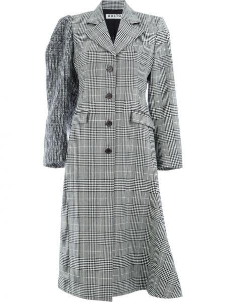 Шерстяное черное вязаное длинное пальто Aalto