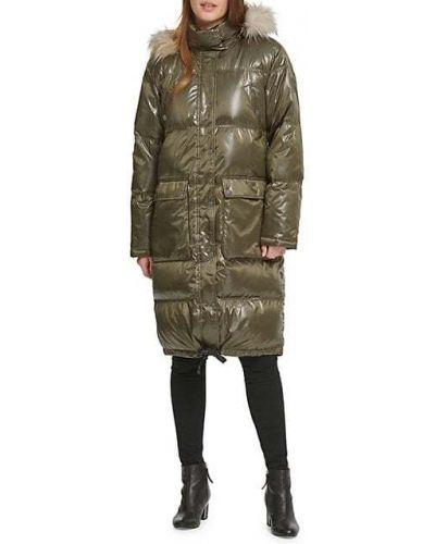 Зеленое длинное пальто с капюшоном из искусственного меха Dkny