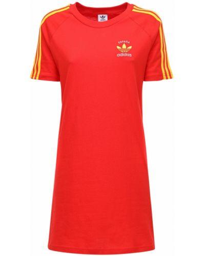 Платье с вышивкой - красное Adidas Originals