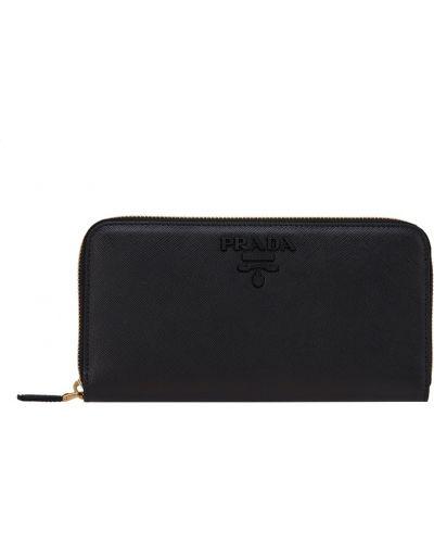 Черный кожаный кошелек для монет на молнии Prada