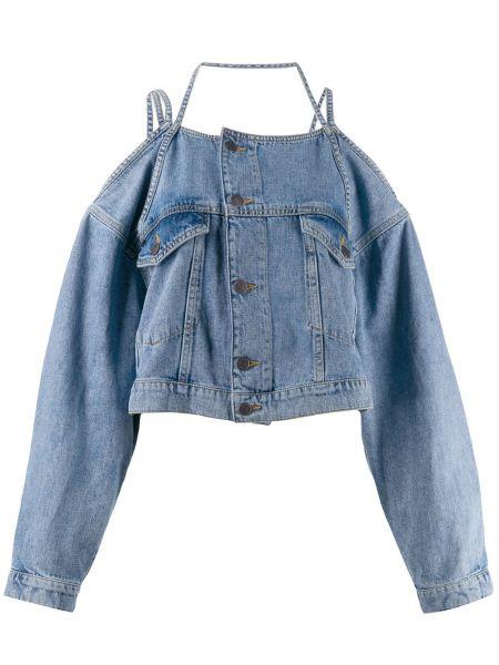 Синяя джинсовая куртка с открытыми плечами на пуговицах Ottolinger