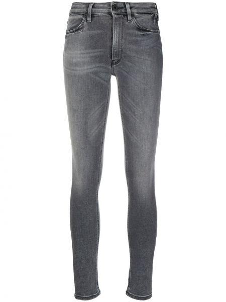 Хлопковые серые джинсы-скинни на пуговицах Dondup