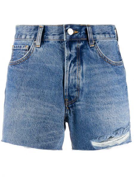 Хлопковые синие классические джинсовые шорты с нашивками Anine Bing