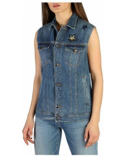 Niebieska koszula jeansowa bez rękawów zapinane na guziki Emporio Armani