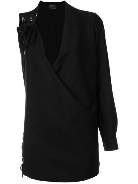 Кожаное платье - черное Anthony Vaccarello