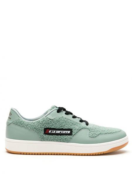 Зеленые кроссовки на шнуровке латексные à La Garçonne