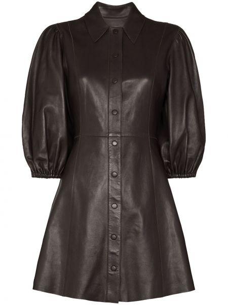 С рукавами коричневое кожаное платье мини Ganni