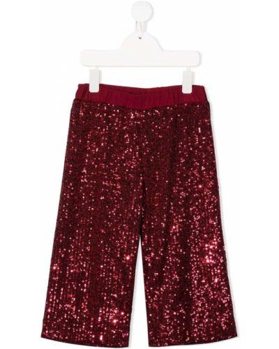 Красные джинсы с высокой посадкой с вышивкой Piccola Ludo