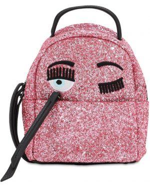 Różowy plecak skórzany z haftem Chiara Ferragni