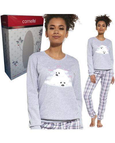 Szara piżama bawełniana z długimi rękawami Cornette
