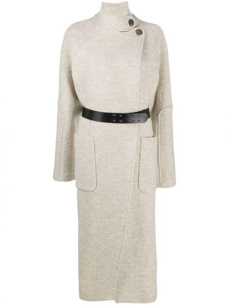 Шерстяное длинное пальто золотое с накладными карманами с длинными рукавами Ba&sh