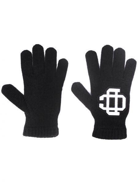 Prążkowane czarne rękawiczki wełniane Dsquared2