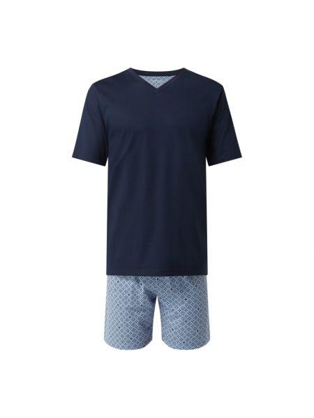 Niebieska piżamy z szortami bawełniana krótki rękaw Seidensticker