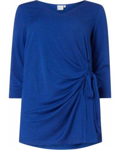 Niebieska bluzka z wiskozy z dekoltem w serek Junarose