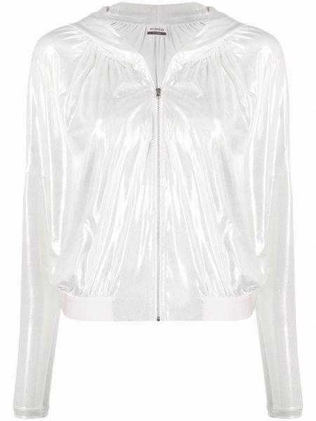 Белая длинная куртка с капюшоном с длинными рукавами Pinko
