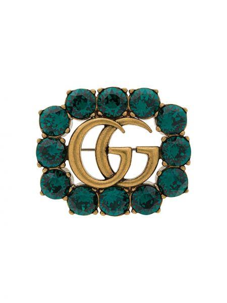 Zielona złota broszka Gucci