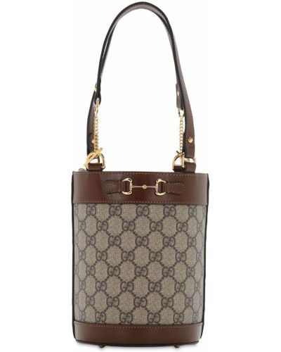 Z paskiem brązowy bawełna skórzany mini torebka Gucci
