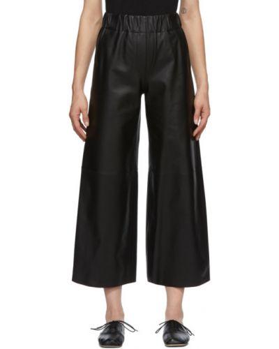 Черные укороченные брюки с карманами свободного кроя Loewe