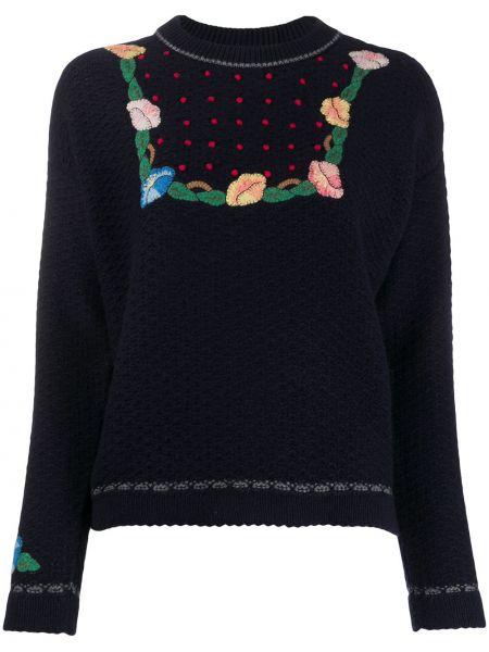 Кашемировый синий свитер в рубчик с вышивкой Vilshenko