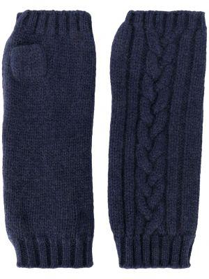 Prążkowane niebieskie rękawiczki bez palców wełniane Pringle Of Scotland